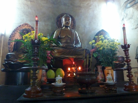 Inside the Buddha base, Long Son Pagoda, Nha Trang